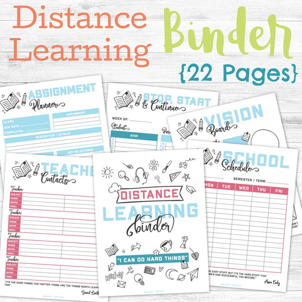 Distance Learning Binder (22 pages) 🎓
