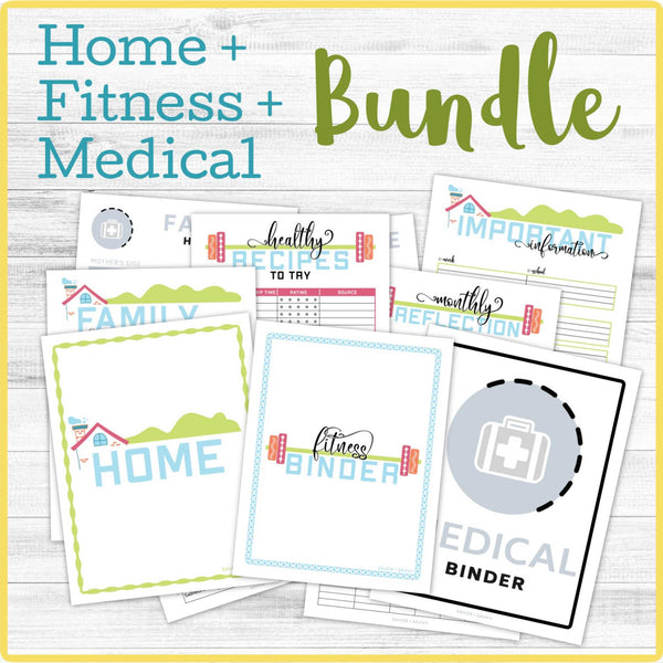 Home/Fitness/Medical Binder BUNDLE (117 Pages) 📎