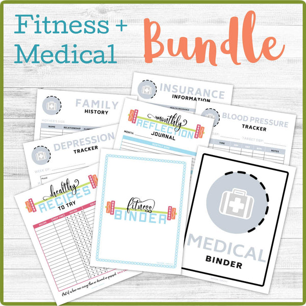 Fitness/Medical Binder BUNDLE (45 Pages) 📎