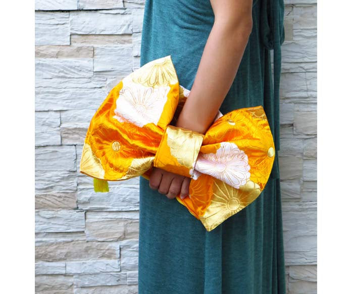 Kimono clutch bag, Ribbon clutch purse.