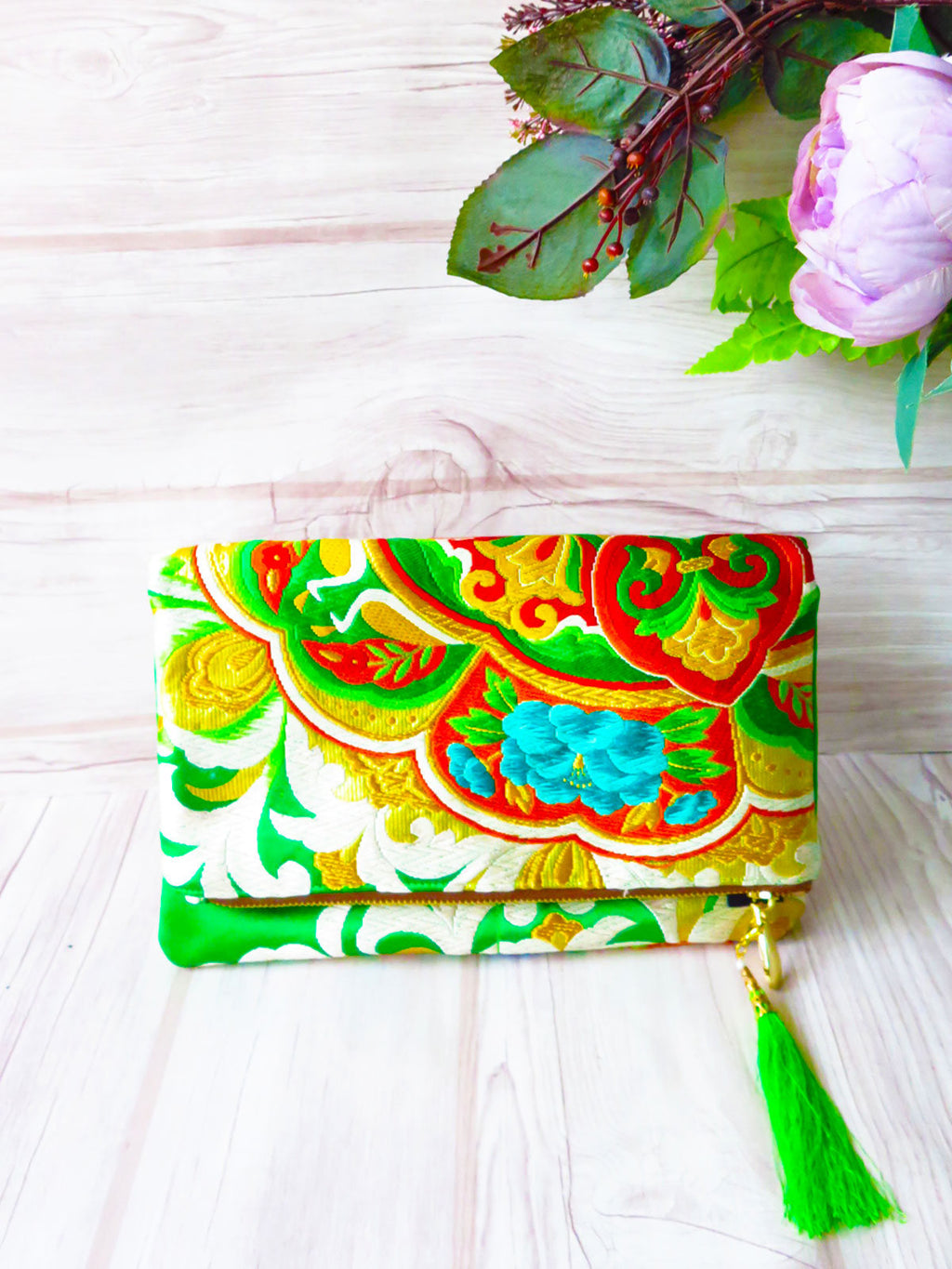 "Kimono obi, Evening purse, Vintage Japanese purse, Silk carry bag, gift for her kimono clutch""Psychedelic Green """