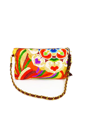 "Japanese Kimono_Evening Shoulder Bag_  Removable Chain Style_""Orange Flower"" (party bag) - Free shipping - Promotion!!"