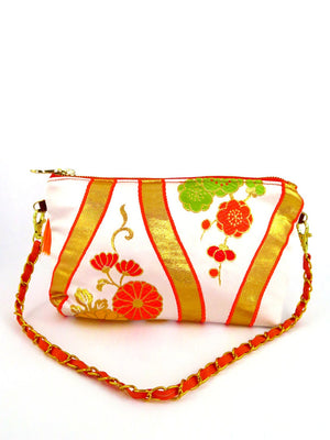 "Japanese Kimono Obi Fabric ""Orange Plum Blossom""_ Evening Shoulder Bag_ Removable Chain Style_Party Bag"