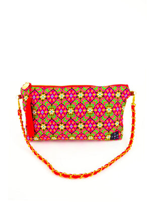 Evening Shoulder Bag, Chain bag, shoulder chain clutch, Chain wallet, Chain purse, Embroidery bag, 2-way bag, Indian Fabric, Indian Red