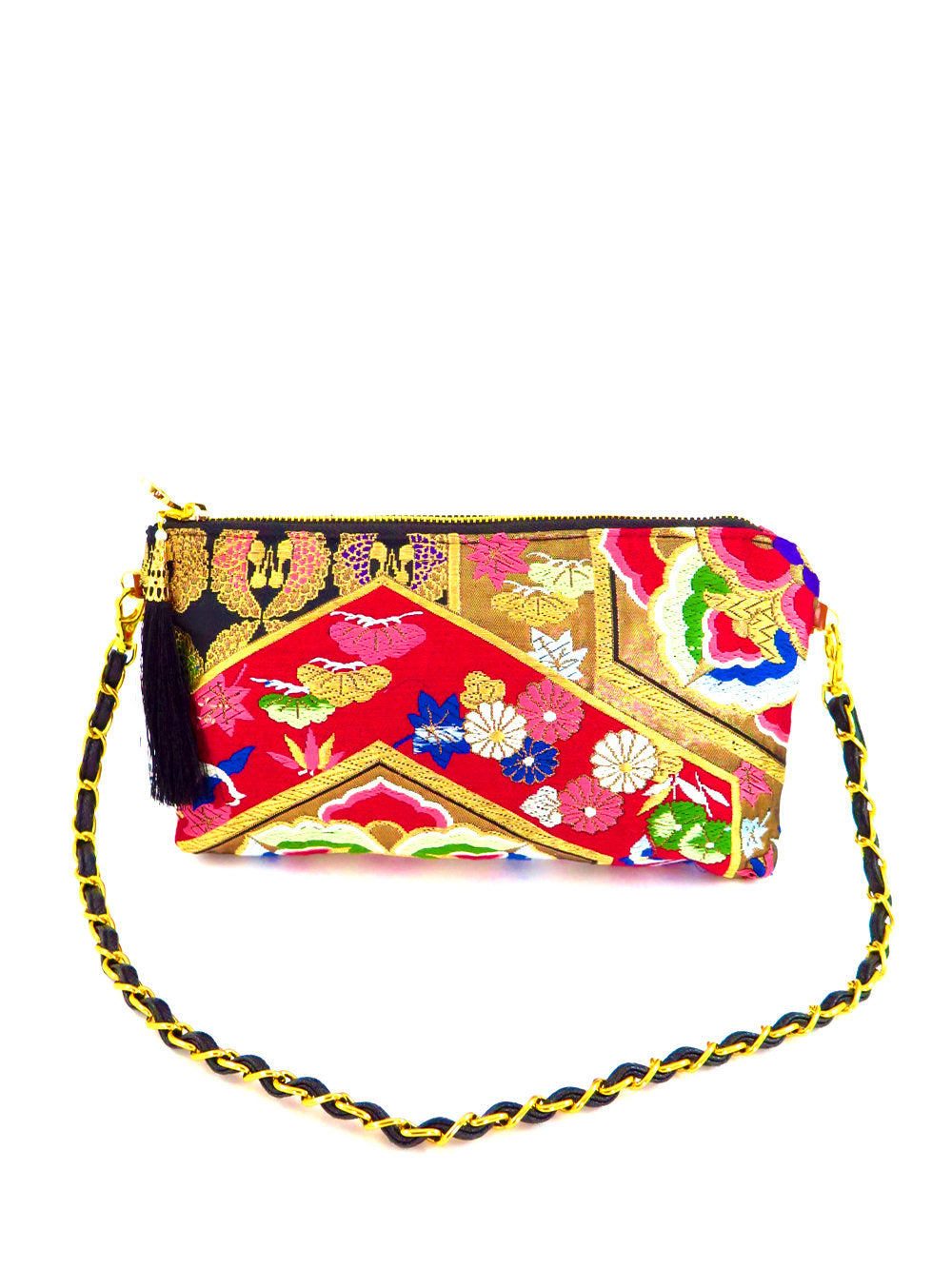 "Japanese Kimono Obi Fabric ""Asian Red Gold""_ Evening Shoulder Bag_ Removable Chain Style_Party Bag"
