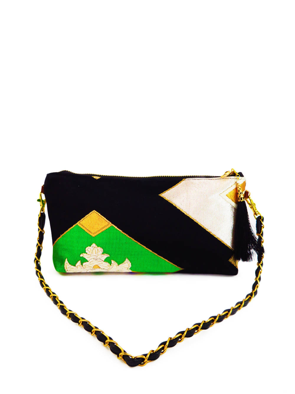 "Japanese Kimono Obi Fabric ""Chrysanthemum Black""_ Evening Shoulder Bag_ Removable Chain Style_Party Bag"