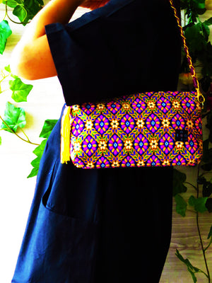 Evening Shoulder Bag, Chain bag, shoulder chain clutch, Chain wallet, Chain purse, Embroidery bag, 2-way bag, Indian Fabric, Indian Blue