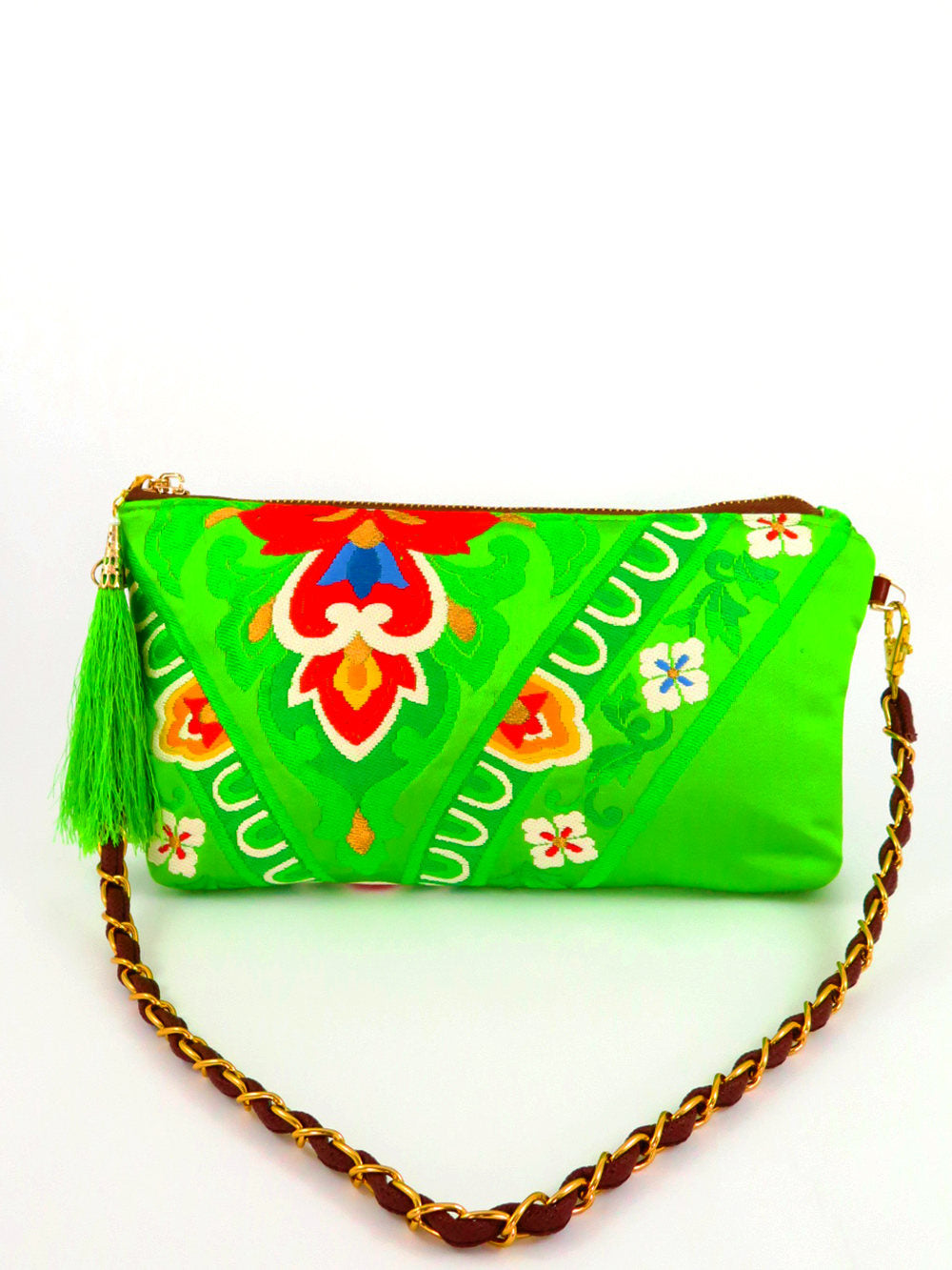 "Japanese Kimono_Evening Shoulder Bag_  Removable Chain Style_""Lime Green Blossom"" (party bag)"