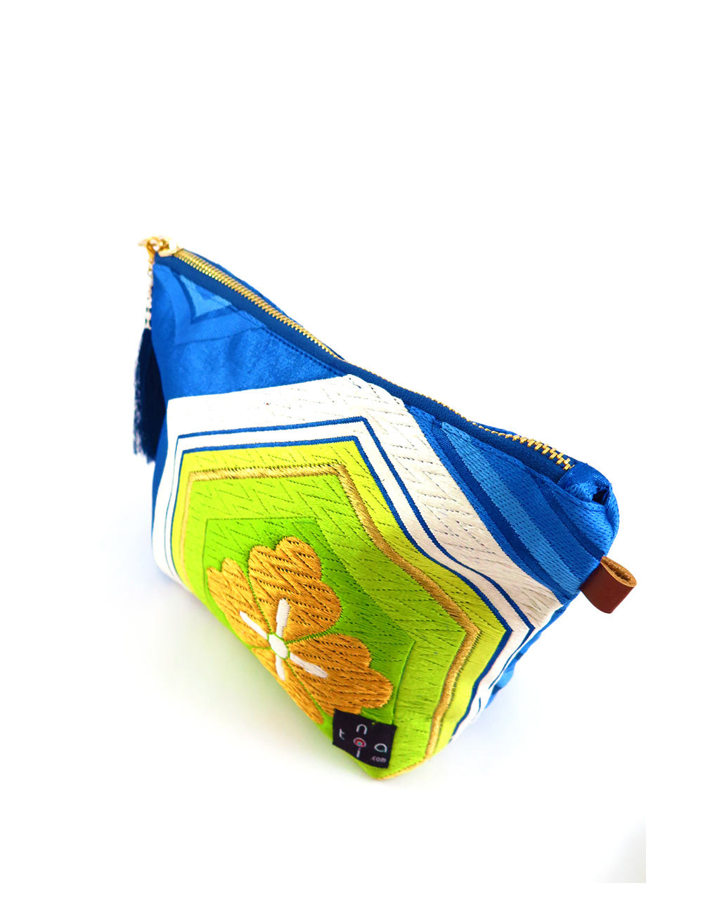 "pouch zipper, makeup purse, makeup pouch, cigarette pouch, sanitary bag, cosmetic bag, Japanese Kimono, obi bag ""Japanese Samurai Blue"""