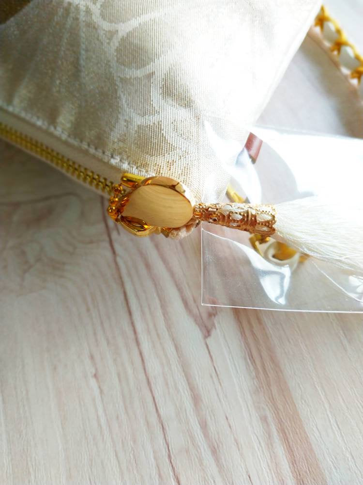 Bridesmaid clutch from Japan, White clutch bag, Shoulder wedding clutch, Japanese silk evening bag