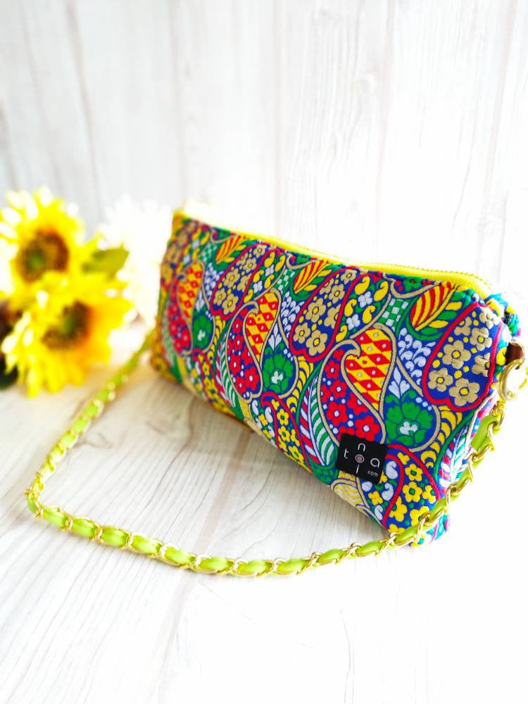 Clutch Purse, Evening Shoulder Bag, Party Bag, Shoulder chain clutch, Chain wallet, Chain purse, Indian Fabric, Ethnic bag, India Yellow