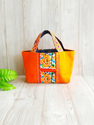 Hmong Bag, Hmong fabric, Canvas tote, Small carry tote, ChiangMai bag, Embroidery tote, Flat bottom bag, Toddler tote, Orange ethnic tote