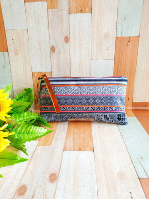 Wrist clutch, Wrist strap, wristlet purse, Clutch bag, Cosmetic purse, Indigo dye, Leather strap, Asian style bags, Hmong vintage embroidery