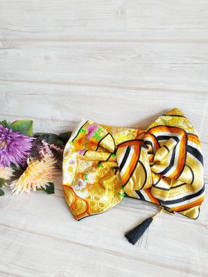 Ribbon clutch bag, Kimono obi Clutch, Vintage ribbon purse, Handbag for wedding, Ribbon bag, Black Obi, Envelope Clutch, Golden Black Ribbon