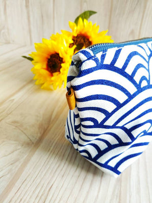 Japanese Traditional Pattern Zipper Pouch, Wave pattern, Travel case, Tassel pouch, Canvas bag, Cosmetic porch, Clutch, sturdy makeup bag