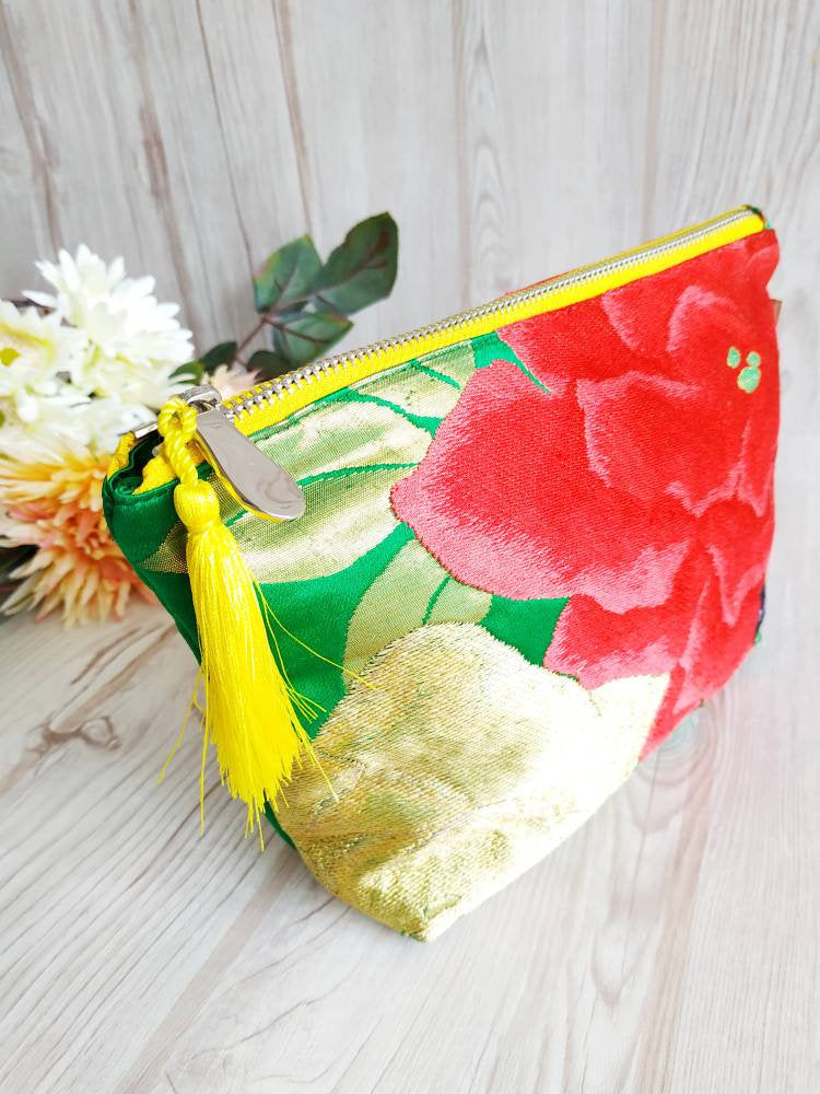 Japanese Kimono bag, make up pouch, zipper pouch, cosmetic purse, kimono obi, Toiletry pouch, Travel Pouch, Clutch Pouch, Rose, Green bag