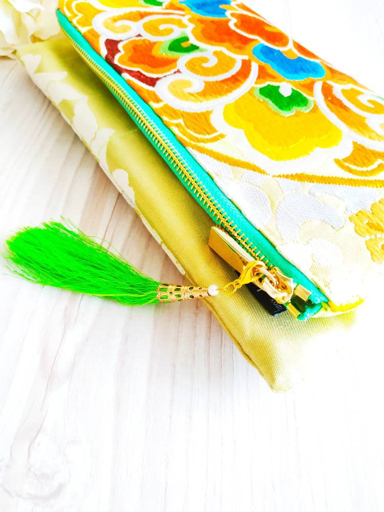 Kimono Clutch Bag, Kimono obi bag, Vintage kimono, Maxi clutch, Folded clutch, Clutch purse, Formal clutch, Vintage purse, Green clutch bag