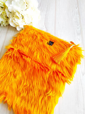 Faux fur purse, Kimono Clutch Bag, Kimono obi bag, Vintage kimono, Fold over clutch, Maxi clutch, Folded clutch, Orange fur clutch