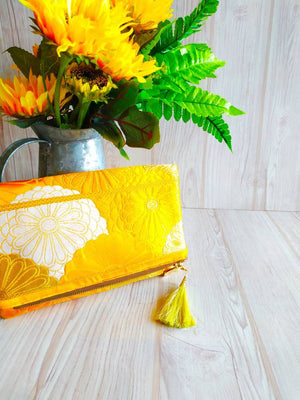 Kimono Clutch Bag, Kimono obi bag, Vintage kimono, Fold over clutch, Maxi clutch, Clutch purse, Formal clutch, Chrysanthemum orange clutch