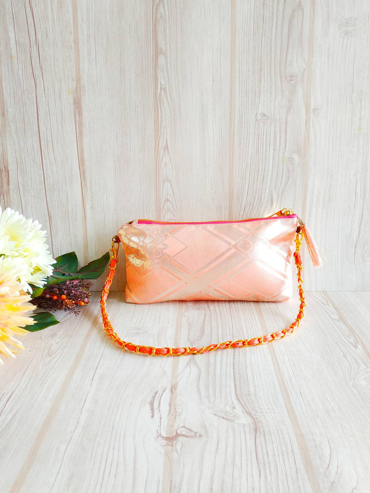 Shoulder clutch, Chain clutch, Japanese Kimono bag, Evening bag, Chain strap, Shoulder Bag, 2 way bag, Wedding clutch, Pink clutch bag