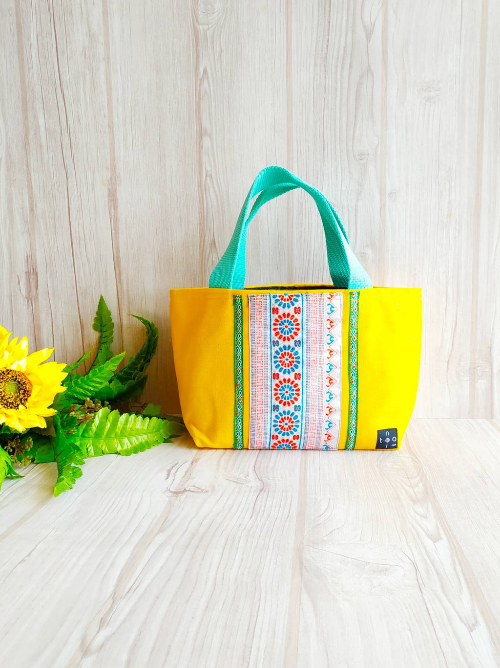 Hmong Bag, Hmong fabric, Canvas tote, Small carry tote, Chiang Mai bag, Embroidery tote, Flat bottom bag, Toddler tote, Ethnic tote, Yellow