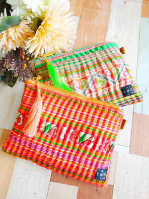Pouch with zipper, Hmong fabric pouch, Pouch bag, Handbag insert, Handbag organizer, Pouch wallet, Cosmetic pouch, Square pouch, Make up bag