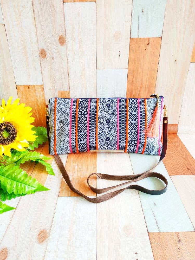Shoulder clutch bag, Cross body bag, Chiang-Mai bag, Indigo dye fabric, 2 way bag, Asian style bags, Ethnic style Bag, leather strap bag