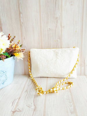 Chain shoulder bag, Faux fur purse, Kimono Clutch Bag, Vintage kimono, Chain bag, Shoulder clutch, Cross body purse, 2 way white clutch bag