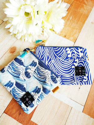 Wallet pouch, Zipper wallet, Coin purse, Change purse, Mini purse, Pocket purse, Mini pouch, Zipper coin purse, Japanese blue mini wallet