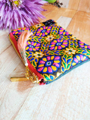 Mini pouch, Mini Wallet, Zipper wallet, Coin purse, Change purse, Mini purse, Pocket purse, Zipper coin purse, Indian embroidery mini wallet
