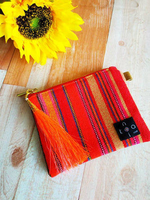 Red mini pouch, Mini Wallet, Zipper wallet, Coin purse, Change purse, Mini purse, Pocket purse, Zipper coin purse, Hmong embroidery wallet