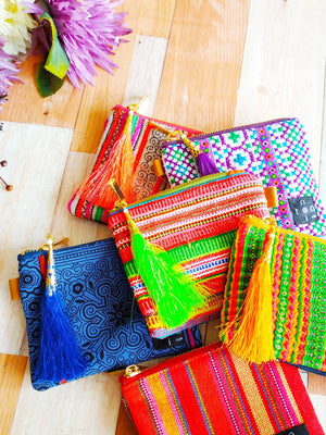 Mini pouch, Mini Wallet, Zipper wallet, Coin purse, Change purse, Mini purse, Pocket purse, Zipper coin purse, Hmong embroidery mini wallet