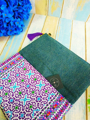 "Clutch purse, Clutch bag, Foldover clutch, canvas fabric, embroidery, Hmong fabric, envelope clutch, Ethnic style,  toanoi, ""Ethnic purple"""