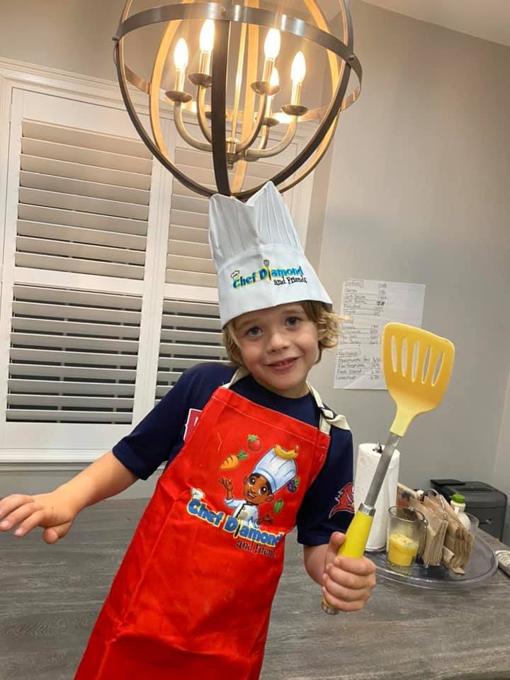 Chef Diamond Apron, Hat & Kids Chef Knife