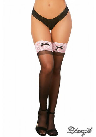 Sheer Thigh High with Silicone Top Black/Pink