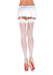 Sheer Stockings Back Seam White