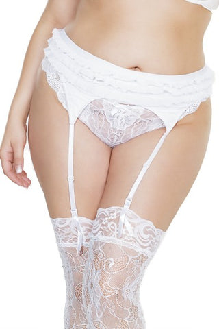 Ruffle Garter Belt White