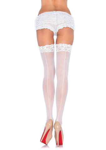 Sheer Stockings with Backeam White