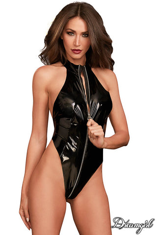 Shiny High Neck Teddy with Blindfold Black - Model Express Vancouver