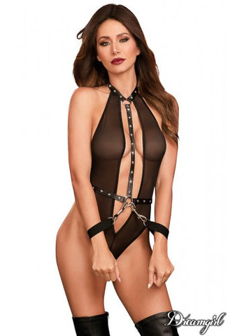 Stretch Mesh Teddy with Restraints Black