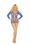 Plus Size Long Sleeve Lace Romper Blue - Model Express Vancouver