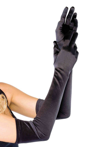 Extra Long Satin Gloves Black