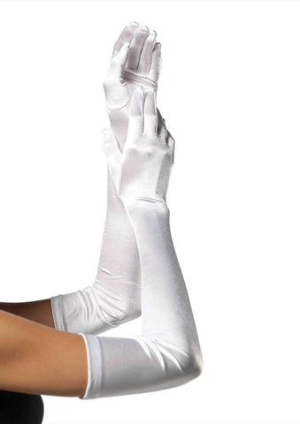 Extra Long Satin Gloves White