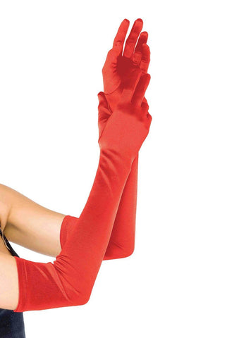 Extra Long Satin Gloves Red - Model Express Vancouver