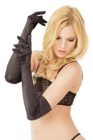 Satin Stretch Gloves - Black
