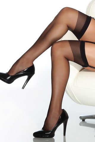 Sheer Thigh High Stockings Black - Model Express Vancouver