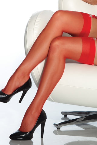 Plus Size Sheer Thigh High Stockings Red