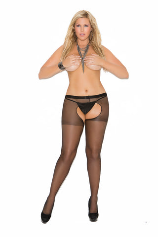 Plus Size Sheer Crotchless Pantyhose Black