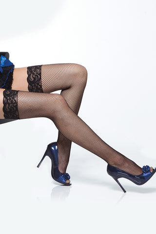 Plus Size Micro Fishnet Thigh Highs with Lace Black