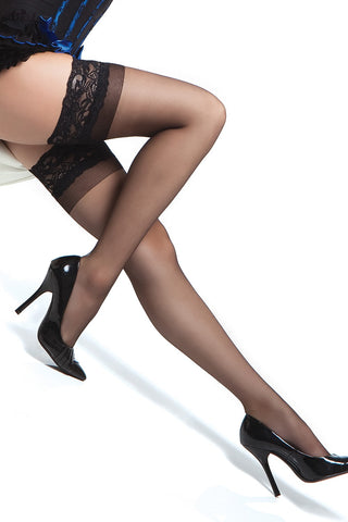 Plus Size Sheer Thigh High Stay Up Stockings Black
